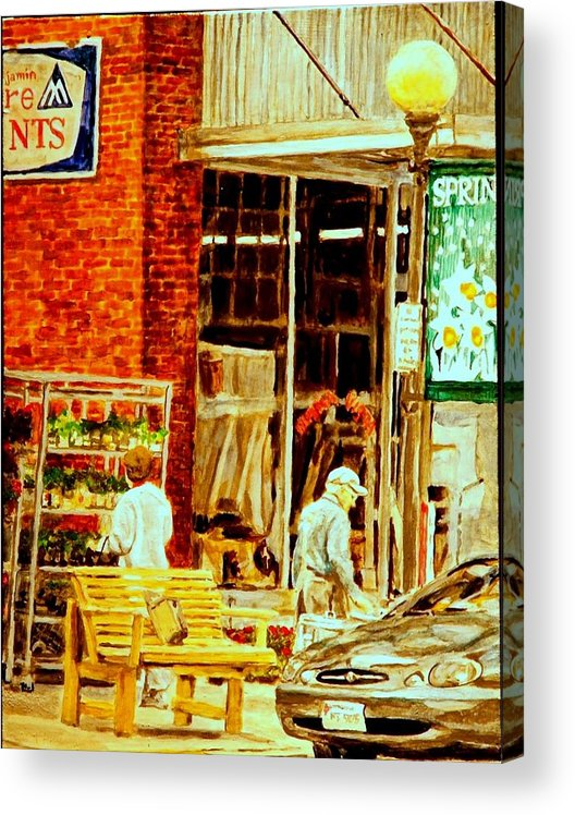 Small Town Acrylic Print featuring the painting The Bed Planters by Thomas Akers