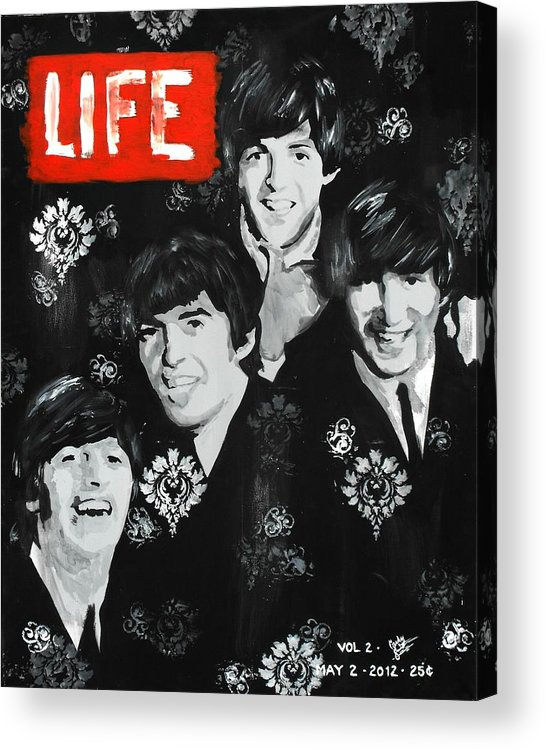 The Beatles Acrylic Print featuring the painting The Fab Four by Carly Jaye Smith