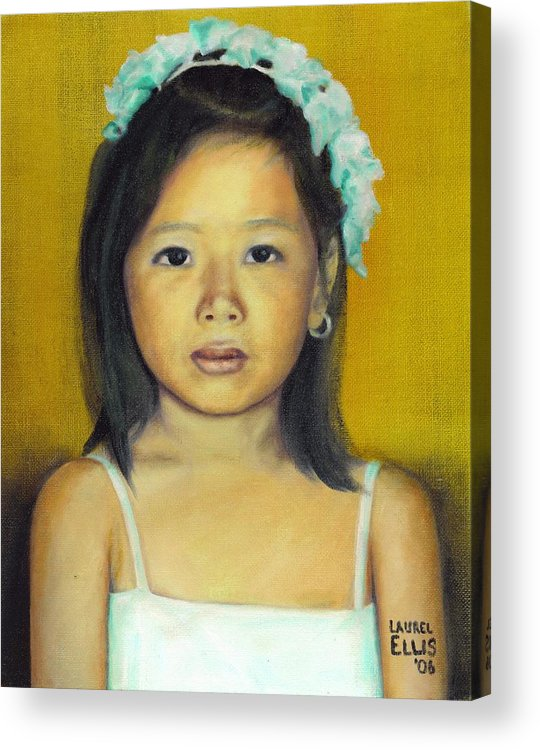 Portrait Acrylic Print featuring the painting The Flower Girl by Laurel Ellis