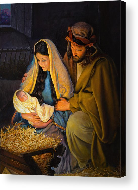 Jesus Acrylic Print featuring the painting The Holy Family by Greg Olsen