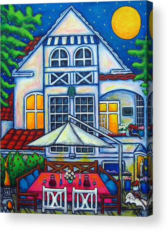 Denmark Acrylic Print featuring the painting The Little Festive Danish House by Lisa Lorenz