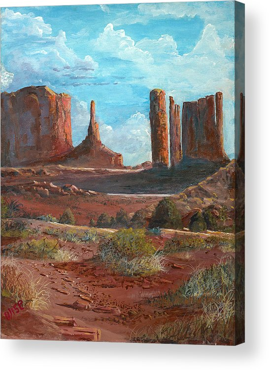 Towers Acrylic Print featuring the painting The Monuments by John Wise