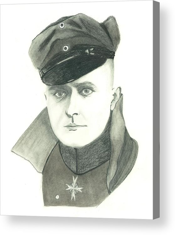 The Red Baron Acrylic Print featuring the drawing The Red Baron by Seventh Son