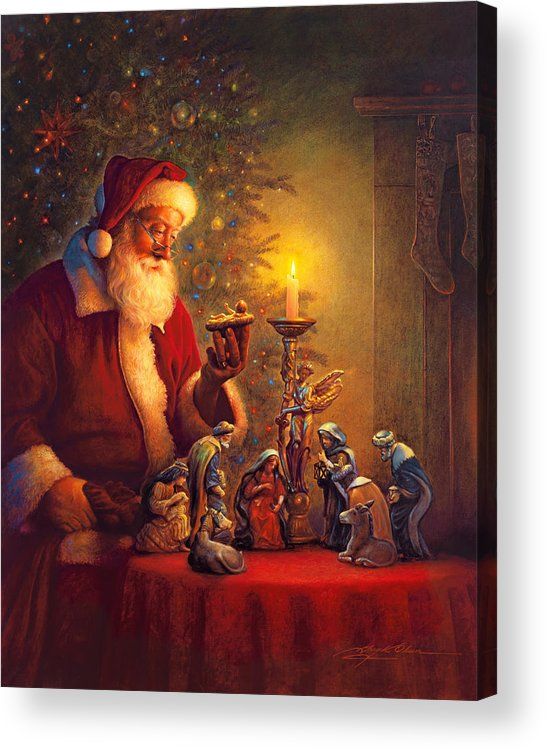 Santa Claus Acrylic Print featuring the painting The Spirit of Christmas by Greg Olsen