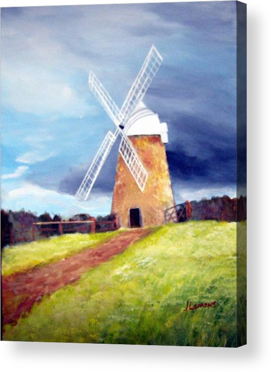 Painting Acrylic Print featuring the painting The Windmill by Julie Lamons