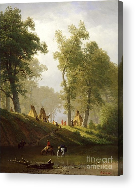 The Acrylic Print featuring the painting The Wolf River - Kansas by Albert Bierstadt
