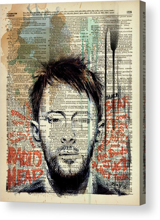 Jimi Hendrix Acrylic Print featuring the painting Thom yorke by Art Popop