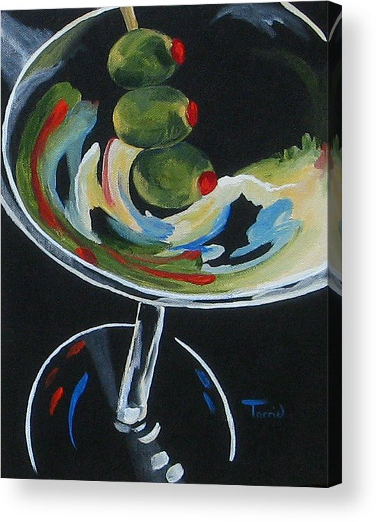 Martini Acrylic Print featuring the painting Three Olive Martini V by Torrie Smiley