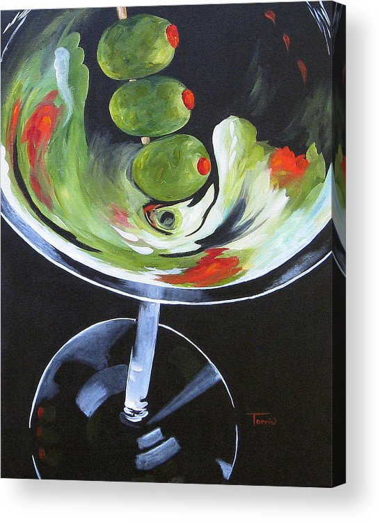 Martini Acrylic Print featuring the painting Three Olive Martini VI by Torrie Smiley