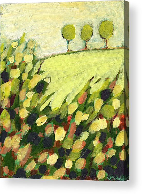Landscape Acrylic Print featuring the painting Three Trees on a Hill by Jennifer Lommers