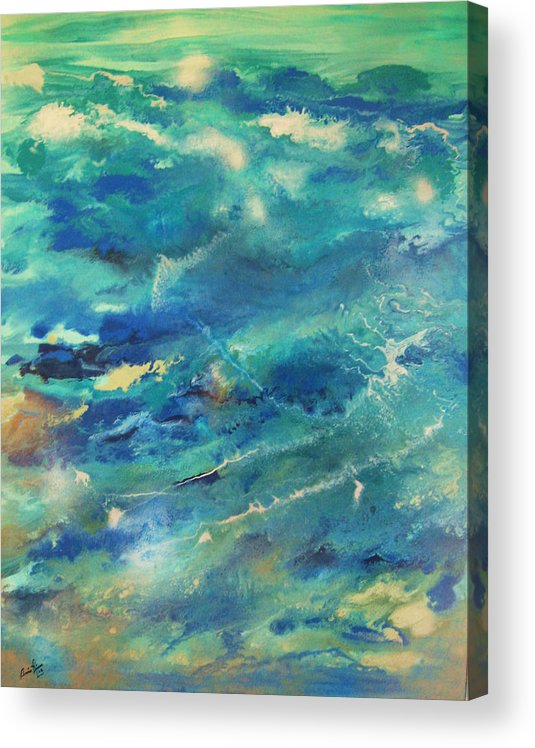 Contemporary Sea Acrylic Print featuring the painting Transformation by Annie Rioux