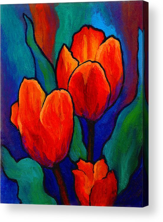 Floral Acrylic Print featuring the painting Tulip Trio by Marion Rose