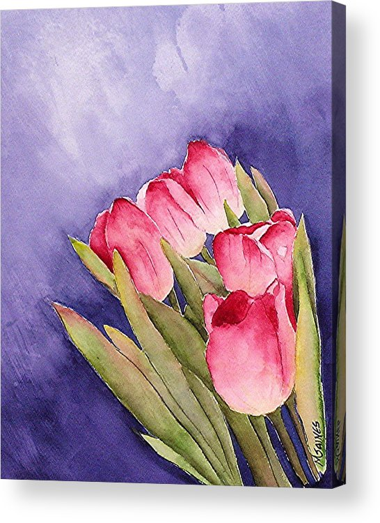 Red Tulips Acrylic Print featuring the painting Tulips in the Wind by Mary Gaines