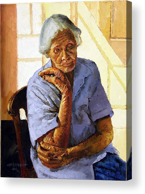 Old Woman Acrylic Print featuring the painting Turning Inward by John Lautermilch