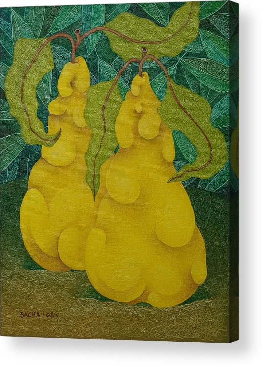 Sacha Circulism Circulismo Acrylic Print featuring the painting Two Quinces 2008 by S A C H A - Circulism Technique