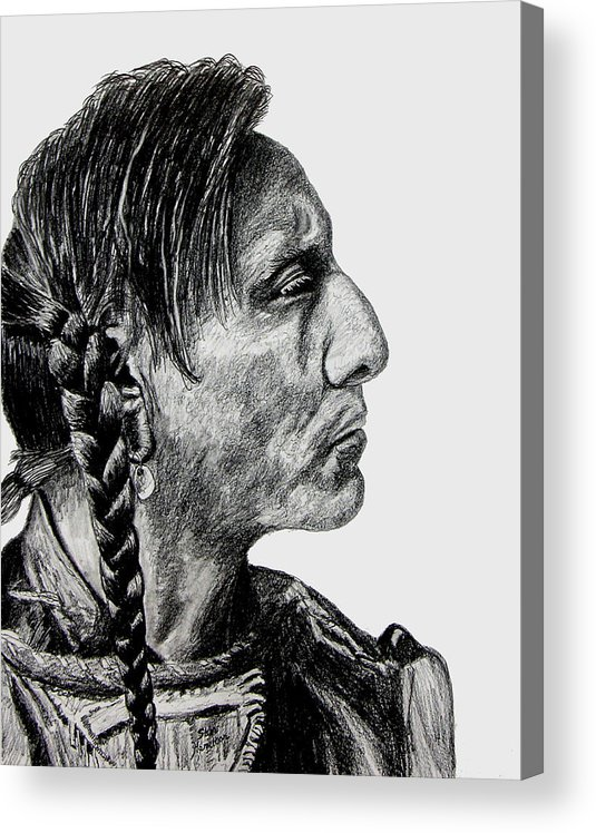 Indian Acrylic Print featuring the drawing Unknown Indian II by Stan Hamilton