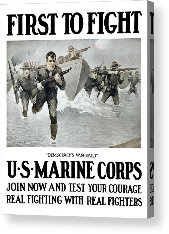 Marines Acrylic Print featuring the painting US Marine Corps - First To Fight by War Is Hell Store