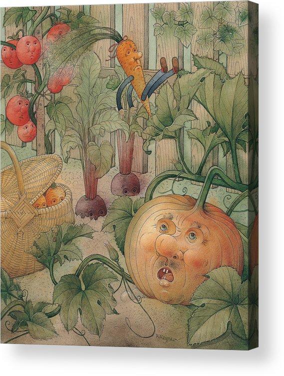 Vegetables Garden Green Autumn Kitchen Pumpkin Acrylic Print featuring the painting Vegetables by Kestutis Kasparavicius