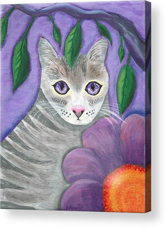 Violet Purple Lavender Eyes Kitty Cat Flower Floral Tabby Grey Acrylic Print featuring the painting Violet Eyed Cat by Monica Resinger