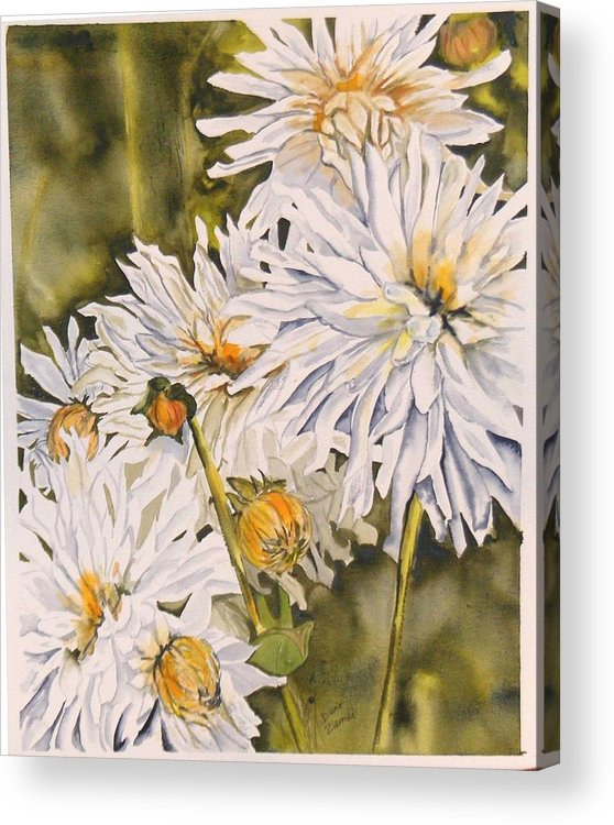 White Acrylic Print featuring the painting White Dahlias by Diane Ziemski