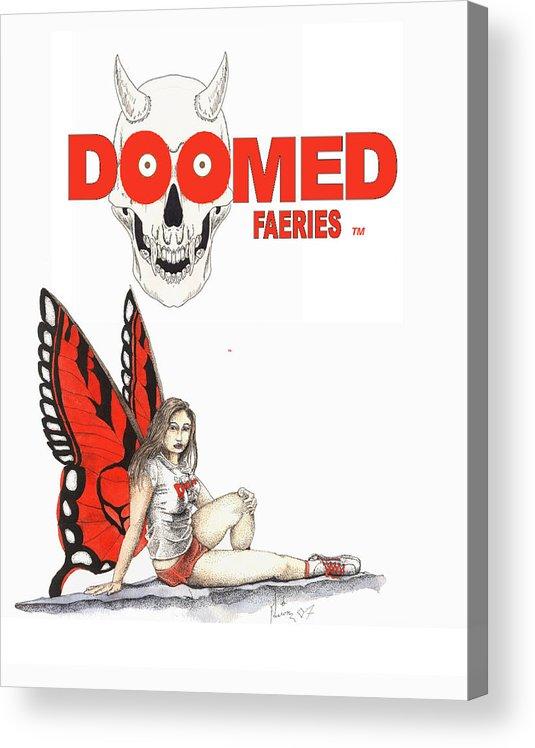 Hooters Fairy Doomed Fairies Hooters Fae Acrylic Print featuring the mixed media Wing night by Preston Shupp