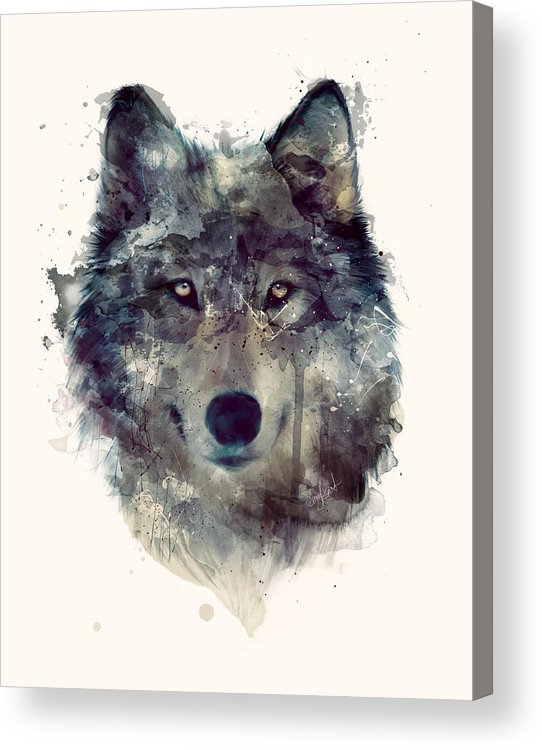 Wolf Acrylic Print featuring the painting Wolf // Persevere by Amy Hamilton