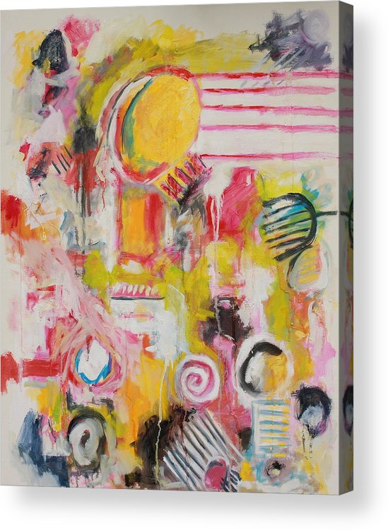 Abstract Acrylic Print featuring the painting Woman Doing Her Hair and Nails by Michael Henderson