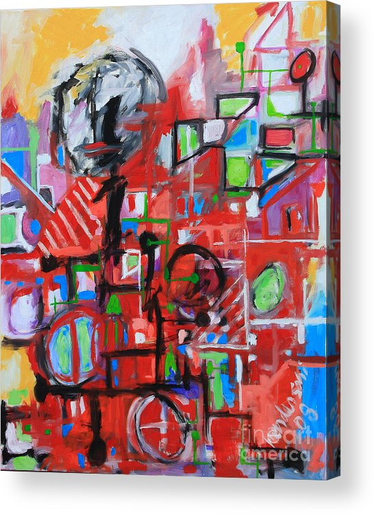 Abstract Acrylic Print featuring the painting Woman in Red by Michael Henderson