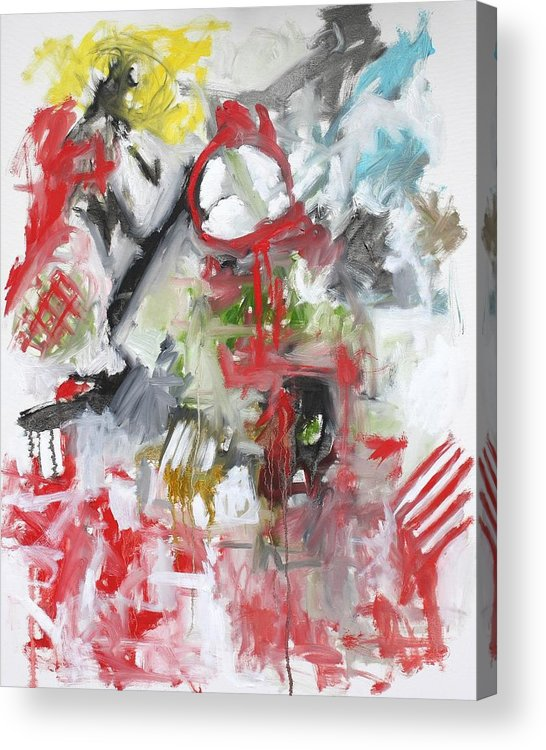 Abstract Acrylic Print featuring the painting Woman with a Red Comb by Michael Henderson