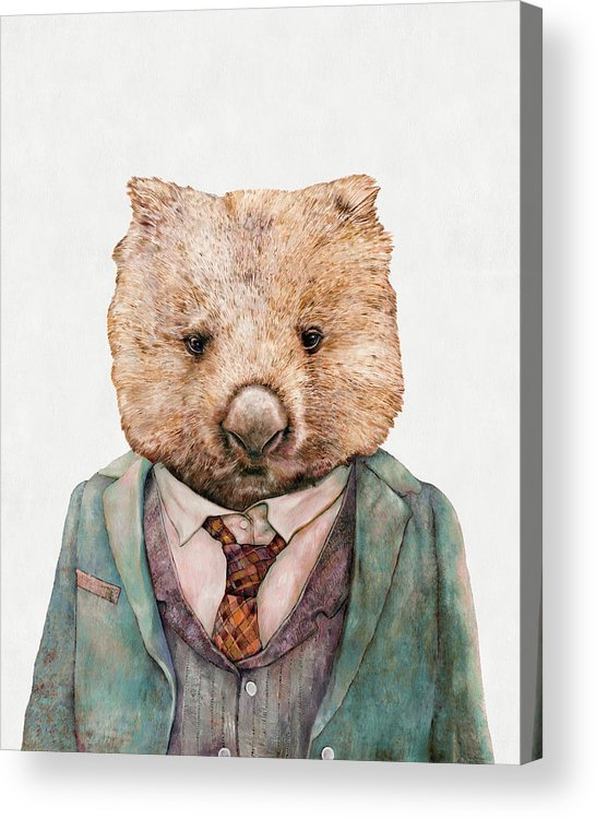 Wombat Acrylic Print featuring the painting Wombat by Animal Crew