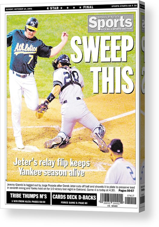 American League Baseball Acrylic Print featuring the photograph Daily News Back Page Derek Jeter by New York Daily News