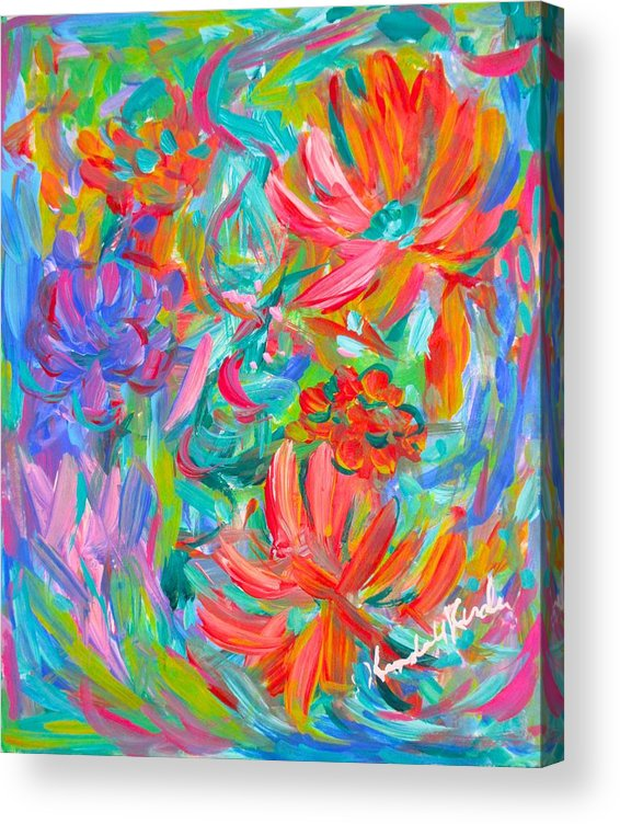 Abstract Acrylic Print featuring the painting Flower Twirl by Kendall Kessler