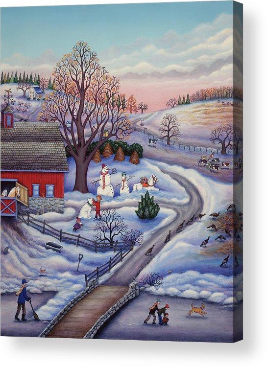 Winter Farm Acrylic Print featuring the painting Winter Farm by Kathy Jakobsen