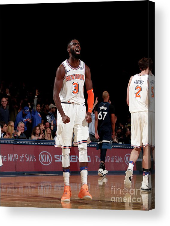 Tim Hardaway Jr. Acrylic Print featuring the photograph Minnesota Timberwolves V New York Knicks by Nathaniel S. Butler