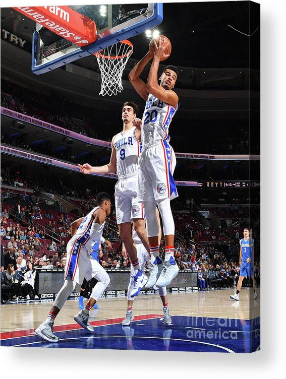 Nba Pro Basketball Acrylic Print featuring the photograph Philadelphia 76ers V Orlando Magic by Jesse D. Garrabrant