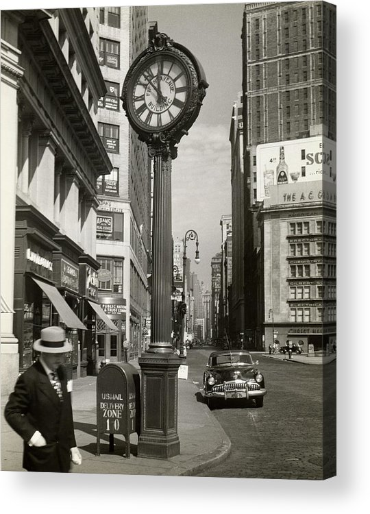 Public Mailbox Acrylic Print featuring the photograph A Street Clock On Fifth Ave., Nyc by George Marks