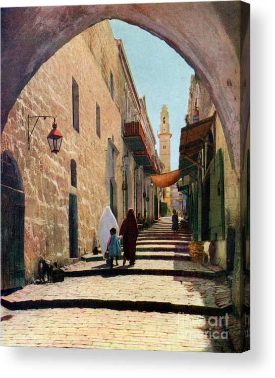 Shadow Acrylic Print featuring the drawing A Street In Jerusalem, Israel, 1926 by Print Collector