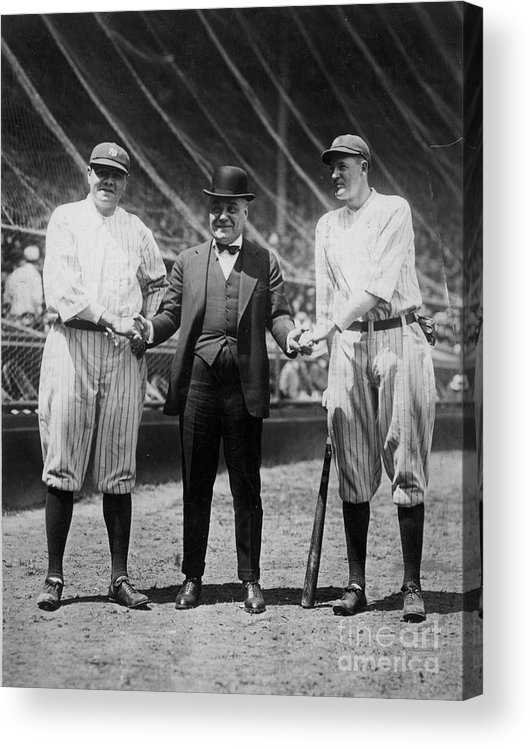 American League Baseball Acrylic Print featuring the photograph Babe Ruth Ruppert Meusel by Transcendental Graphics