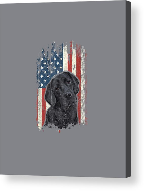 girls' Novelty T-shirts Acrylic Print featuring the digital art Black Lab American Flag Shirt Usa Patriotic Dog Lover Gifts T-shirt by Do David