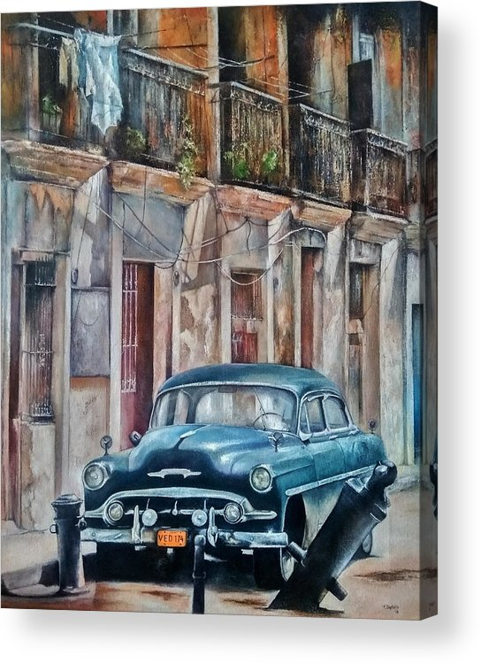 Car Acrylic Print featuring the painting Blue car-Old Havana by Tomas Castano