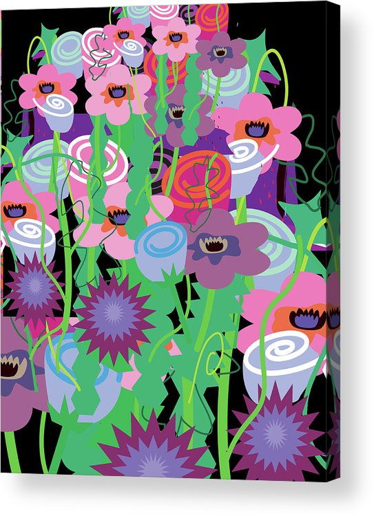Black Background Acrylic Print featuring the digital art Bouquet Of Flowers by Charles Harker