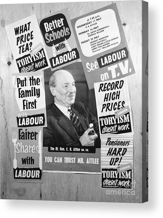 Art Acrylic Print featuring the photograph British Labour Party Election Posters by Bettmann