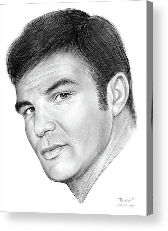 Burt Reynolds Acrylic Print featuring the drawing Burt by Greg Joens