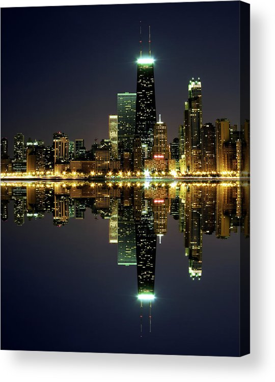 Lake Michigan Acrylic Print featuring the photograph Chicago Skyline Reflected On Lake by Pawel.gaul