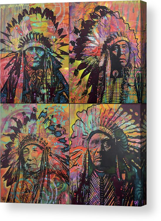 Chiefs Quadrant Acrylic Print featuring the mixed media Chiefs Quadrant by Dean Russo