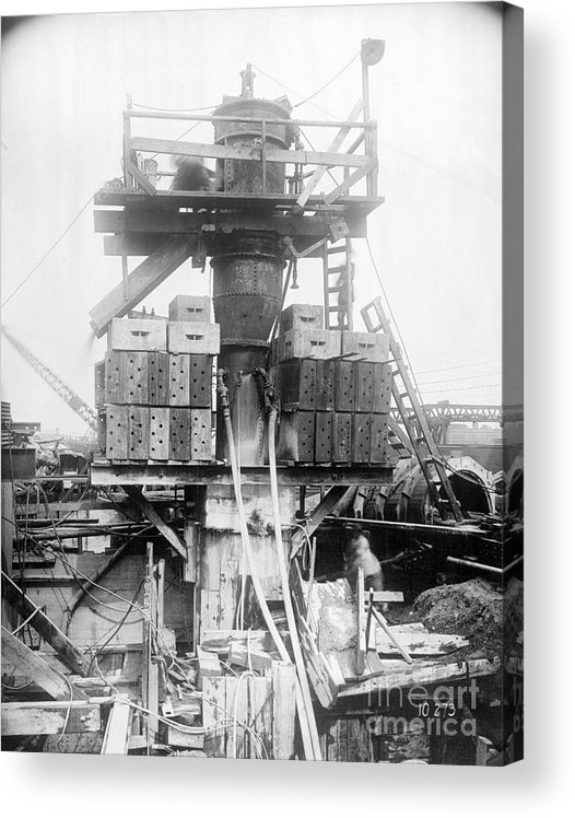 Civil Engineering Acrylic Print featuring the photograph Construction Of Holland Tunnel by Bettmann