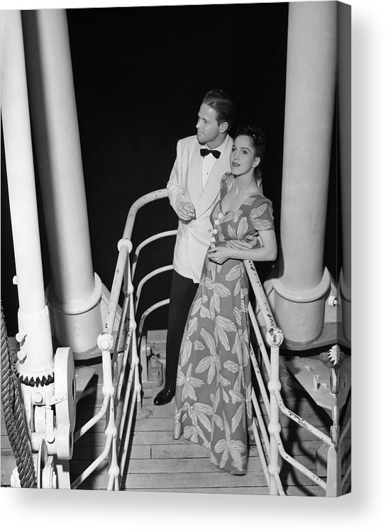 Heterosexual Couple Acrylic Print featuring the photograph Couple In Evening Wear by George Marks
