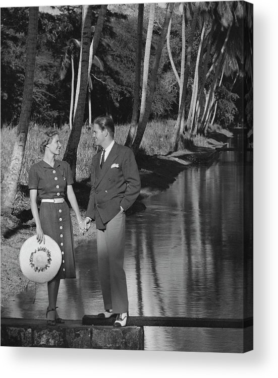 Heterosexual Couple Acrylic Print featuring the photograph Couple Outdoors by George Marks
