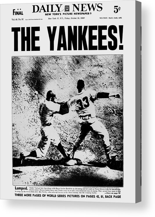 American League Baseball Acrylic Print featuring the photograph Daily News Front Page Dated Oct. 10 by New York Daily News Archive