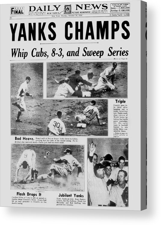 American League Baseball Acrylic Print featuring the photograph Daily News Front Page October 10, 1938 by New York Daily News Archive